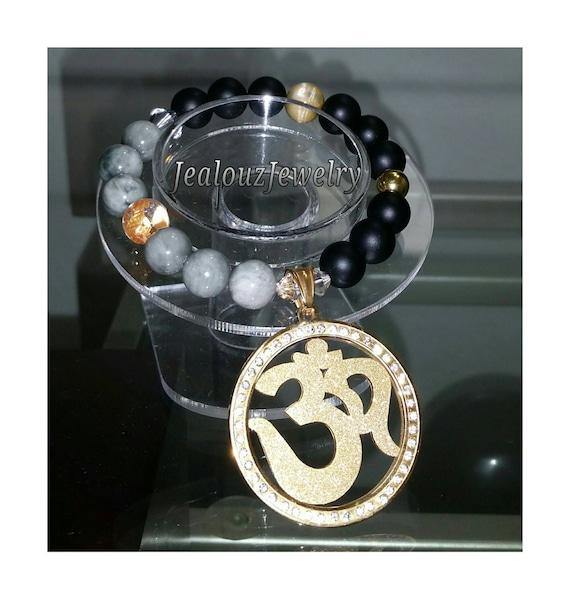 Gold Stainless Steel Rhinestone Om Medallion Gray Tiger Eye Matte Black Agate Gemstone Beaded Stretch Charm Bracelet