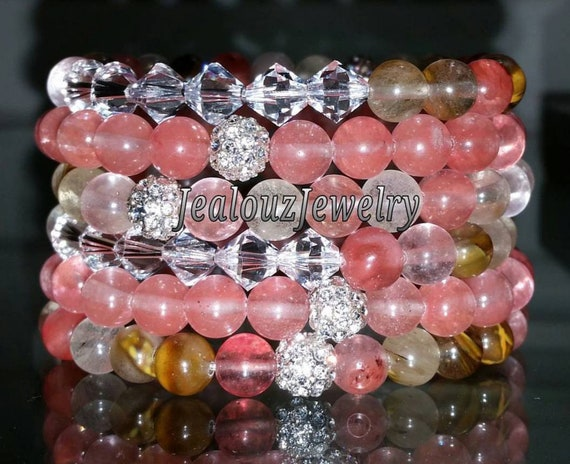 "6 Crystal Mixed Watermelon Coral Pink Salmon Quartz Gemstone 7"" Shamballa Rhinestone Beaded Stretch Bracelet Arm Candy Party Stack Set"