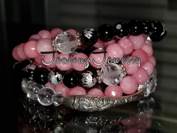 Sterling Silver Lucky Koi Fish Pink  Jade Black Onyx Carved Quartz Gemstone Wrap Around Bracelet Anklet Necklace Zen Mala