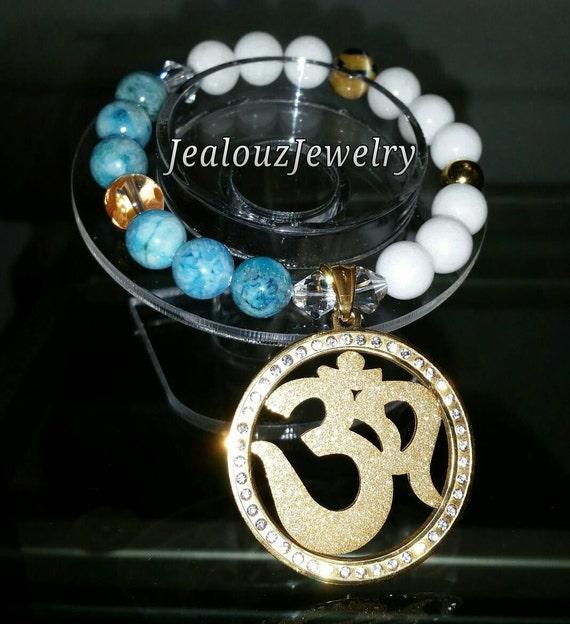 Gold Stainless Steel Lucky Medallion Om Turquiose Hemimorphite White Jade Gemstone Beaded Stretch Bracelet