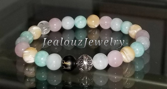 Protection Against Negative Energy Sterling Silver Healing Amazonite Aquamarine Rose Quartz MOP Onyx 8mm Gemstone Stretch Yoga Bracelet