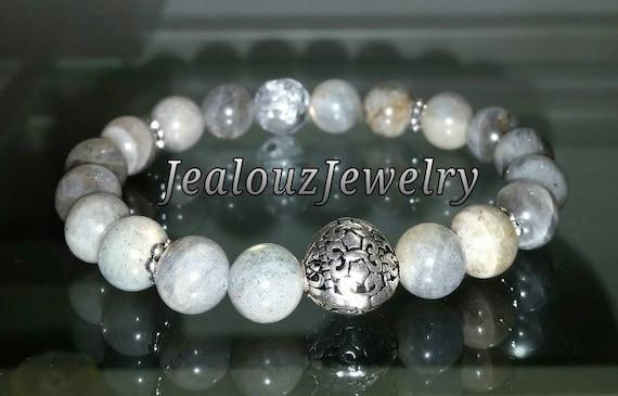 "Sterling Silver 925 Lucky Flur De Lis Lt Gray Labradorite Energy Healing Meditation Gemstone 7"" Beaded Stretch Bracelet"