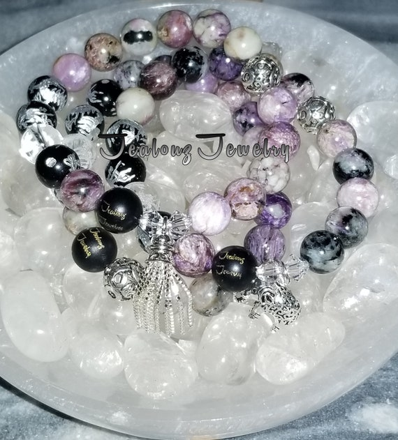 Sterling Silver Charm Purple Charoite Black Onyx Quartz Gemstone Protection Against Negative Energy Healing Bracelet Set