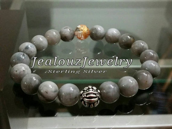 Positive Energy Reduce Stress Sterling Silver Lucky Dragon Gray Tiger Eye Gemstone Mens Beaded Stretch Yoga Bracelet