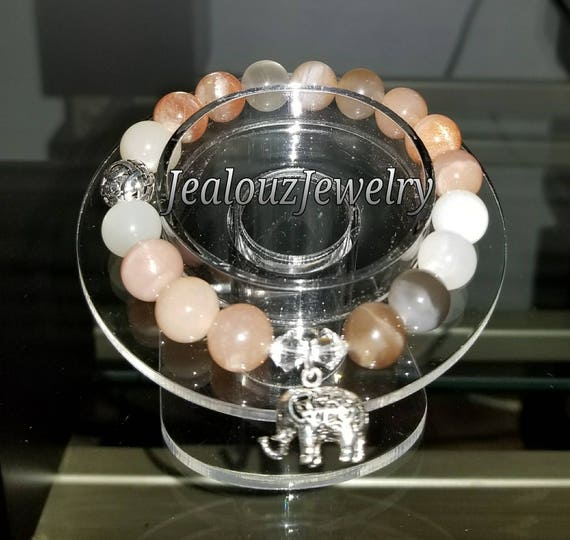 Sterling Silver 925 Lucky Elephant Infinity Knott Moonstone Deep Healing Protection Stress Relief Gemstone Beaded Stretch Bracelet