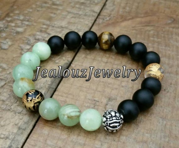 "Positive Energy Wealth Sterling Silver Lucky Dragon Matte Black Green Jade Tiger Eye Gemstone Hip Hop Mens 7"" Beaded Stretch Yoga Bracelet"