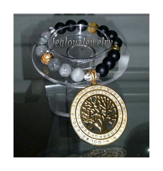 Gold Stainless Steel Tree Of Life Medallion Gray Tiger Eye Matte Black Agate Gemstone Beaded Stretch Charm Bracelet