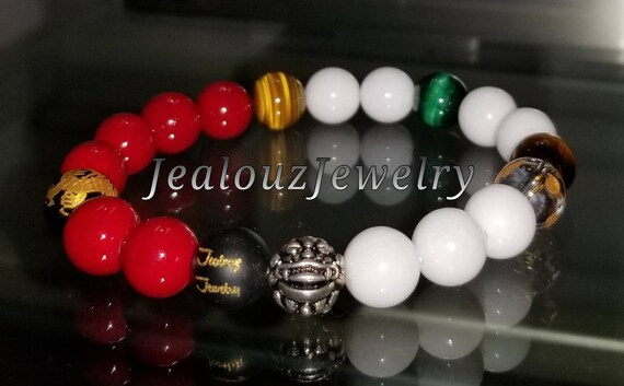 "Positive Energy Wealth Sterling Silver Lucky Dragon White Red Emerald Tiger Eye Gemstone Hip Hop Mens 7"" Beaded Stretch Yoga Bracelet"