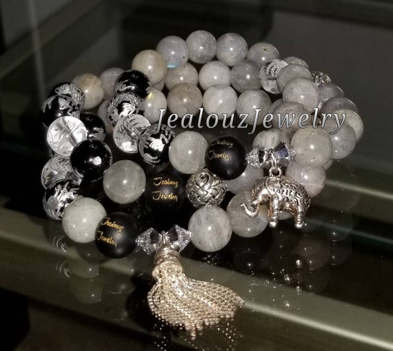 Sterling Silver Charm Gray Labradorite Black Onyx Quartz Gemstone Protection Against Negative Energy Healing Bracelet Set
