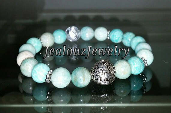 "Sterling Silver 925 Lucky Flur De Lis Lt Turquiose Amazonite Gemstone 7"" Beaded Stretch Bracelet"