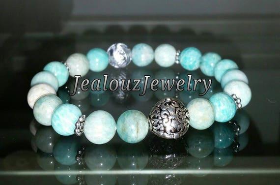 "Sterling Silver 925 Lucky Flur De Lis Lt Turquiose Amazonite Gemstone 7"" Beaded Stretch Bracelet"