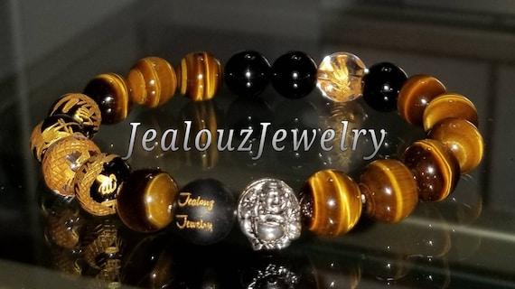 "Grade AAA Tiger Eye Gemstone 7"" Stretch Yoga Bracelet 925 Sterling Silver Lucky Laughing Buddha Quartz Mens Mala"