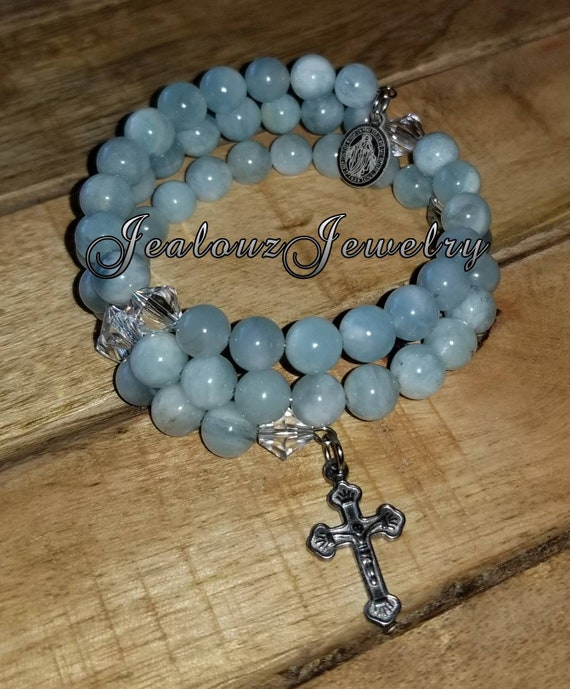 Stainless Steel Healing Beryl Aquamarine Gemstone 8mm bead Rosary Wrap Cross Bracelet