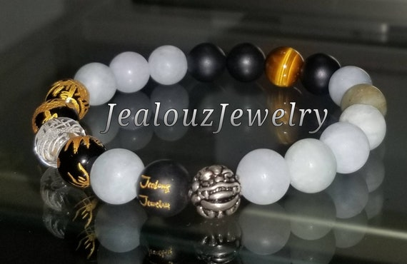 Protection Against Negative Energy Wealth Sterling Silver Lucky Gold Dragon Matte Black Onyx Blue Aquamarine Gemstone Stretch Yoga Bracelet