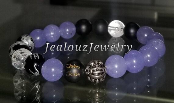 Protection Against Negative Energy Wealth Sterling Silver Lucky Dragon Matte Black Onyx purple Quartz Gemstone Mens Stretch Yoga Bracelet