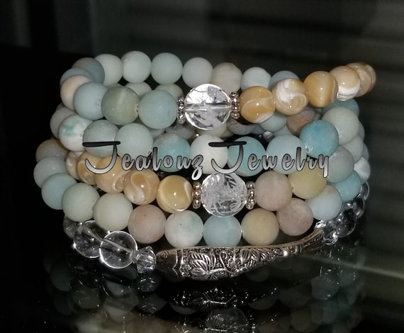 Sterling Silver Lucky Koi Fish 8mm Matte Amazonite Mother of Pearl Carved Quartz Gemstone Wrap Around Bracelet Anklet Necklace Zen Mala
