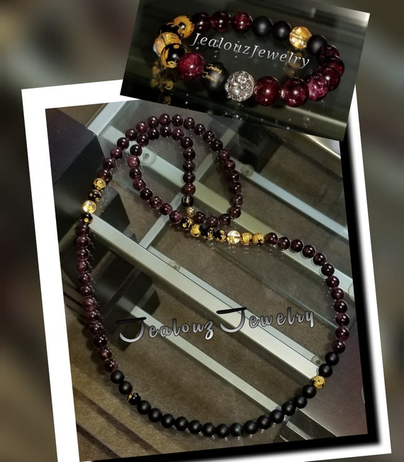 Sterling Silver Lucky Buddha Dragon Burgandy Garnet Red Matte Black 10mm Healing Gold Carved Gemstone Beaded Mens Yoga Necklace Bracelet Set