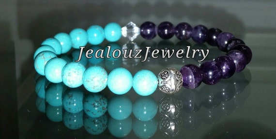 Healing Positive Energy Balance Sterling Silver Turquoise Amethyst Gemstone Beaded Stretch Yoga Mala Bracelet