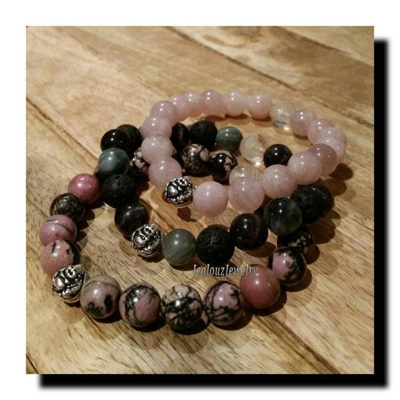 Rose Quartz Love Amethyst Lava Tiger Eye Healing Rhodonite Forgiveness 925 Thai Sterling Lucky Buddha 7 Inch Bracelet Set