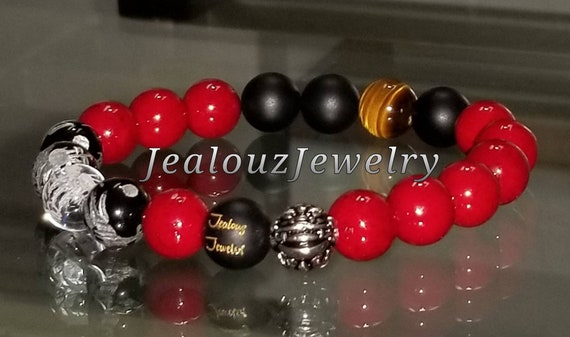 Protection Against Negative Energy Passion Wealth Sterling Silver Lucky Dragon Matte Black Onyx Gemstone Mens Stretch Yoga Bracelet