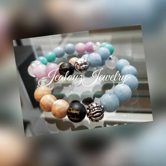 Healing Protection Against Negative Energy Love Relief Of Stress Sterling Silver Chunky Tiger Lion 12mm Gemstone Stretch Bracelets