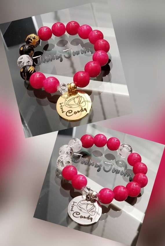 Chunky I Love Hard Candy 12mm Gemstone Magenta Pink Jade Mixed Metal Sterling Silver & Stainless Steel Coin Charm Bracelet