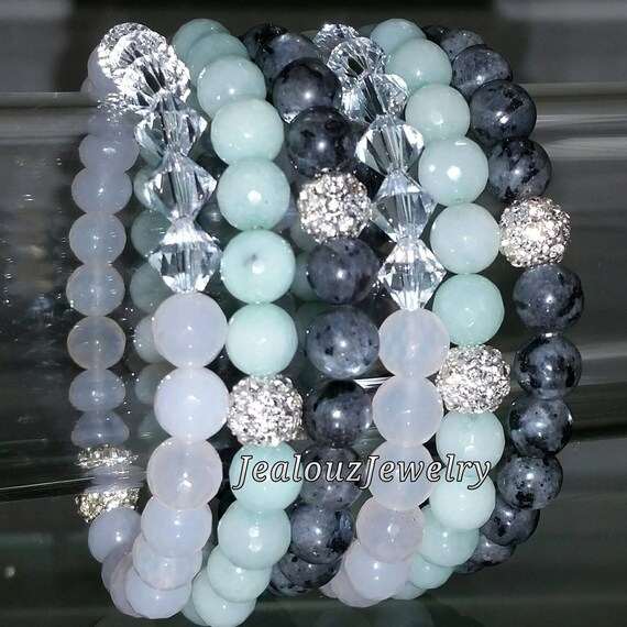 "Crystal White Agate Mint Jade Gray Labradorite Gemstone 7"" Shamballa Rhinestone Stretch Bracelet Arm Candy Stack Set"