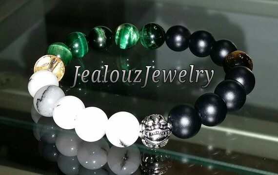 "Emerald Green White Black Tiger Eye Heart Chakra Gemstone 7"" Stretch Meditation Yoga Wealth Bracelet 925 Sterling Silver Lucky Dragon Mens"