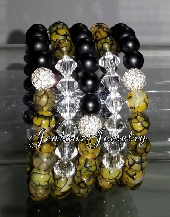 "5 Crystal Olive Green Matte Black Agate Gemstone 7"" Shamballa Rhinestone Stretch Bracelet Arm Candy Stack Set"