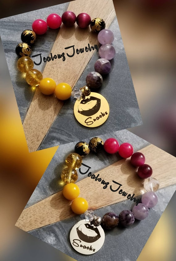 JealouzJewelry I Love Snacks 12mm Gemstone Jade Citrine  Tiger Eye Mixed Metal Sterling Silver & Stainless Steel Coin Bracelet