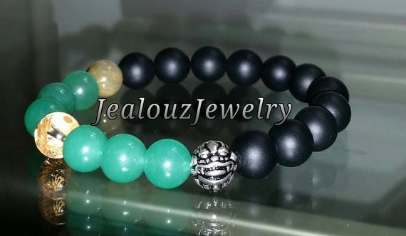 "Matte Black Green Jade Gemstone 7"" Stretch Yoga Wealth Bracelet 925 Sterling Silver Lucky Dragon Quartz"