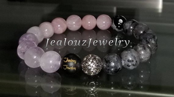 Sterling Silver 925 Lucky Infinity Knott Amethyst Rose Quartz Labradorite Gemstone Beaded Stretch Bracelet