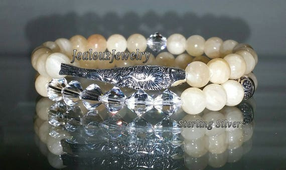 "925 Thai Sterling Silver Lucky Koi Fish 7"" Lt Yellow Jade Gemstone Beaded Stretch Bracelet Set"