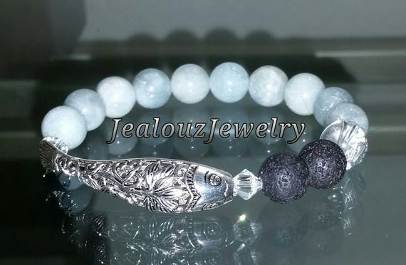 "925 Thai Sterling Silver Lucky Lotus Koi Fish 7"" Fearlessness Protection Blue Aquamarine Gemstone Beaded Stretch Essential Oil Lava Bracelet"