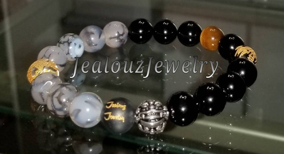 "Gold Black Onyx Gemstone 7"" Stretch Yoga Bracelet 925 Sterling Silver Lucky Dragon Vein Agate Quartz Mens"