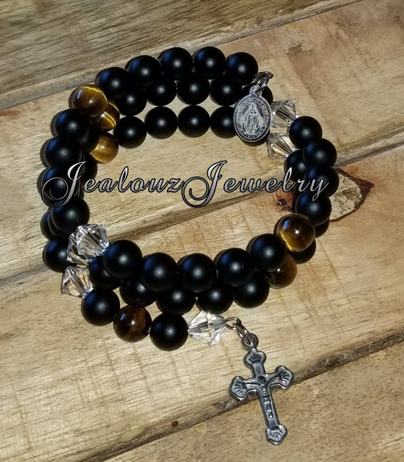 Stainless Steel Healing Protection Matte Black Onyx Tiger Eye 8mm Gemstone Bead Rosary Wrap Bracelet