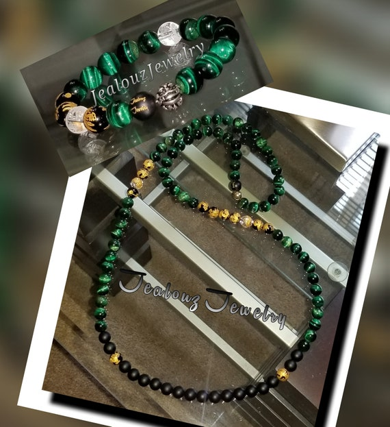 Sterling Silver Lucky Dragon African Color Green Matte Black 10mm Healing Gold Carved Gemstone Beaded Mens Yoga Necklace Bracelet Set
