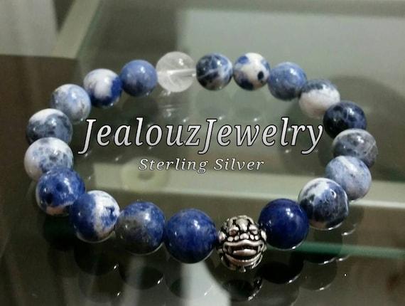 Positive Energy Wisdom Chakra Sterling Silver Lucky Dragon Sodalite Gemstone Hip Hop Mens Beaded Stretch Yoga Bracelet