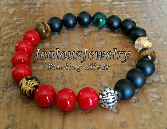 "Positive Energy Wealth Sterling Silver Lucky Dragon Matte Black Red Emerald Tiger Eye Gemstone Hip Hop Mens 8"" Beaded Stretch Yoga Bracelet"