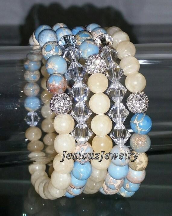 "5 Crystal Yellow Lt Blue Regilite Gemstone 7"" Rhinestone Stretch Bracelet Arm Candy Stack Set"