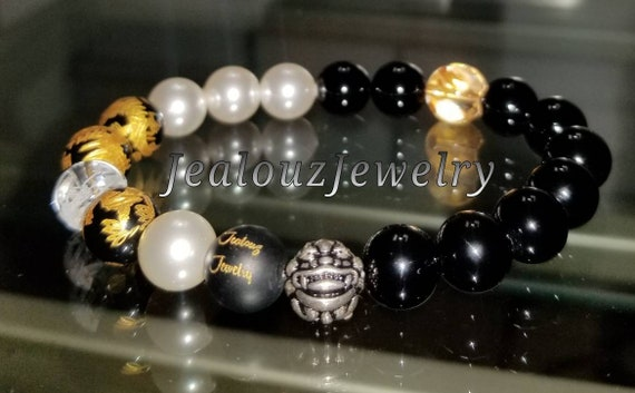 "Positive Energy Protection Sterling Silver Lucky Dragon Black Onyx White Pearl Gemstone Hip Hop Mens Beaded Stretch Yoga 7"" Bracelet"