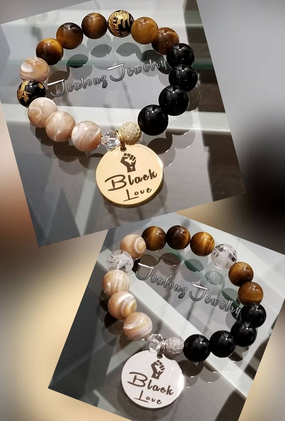 Chunky Black Love 12mm Tan Mother Of Pearl Brown Tiger Eye Onyx Gemstone Sterling Silver & Stainless Steel Coin Charm Bracelet
