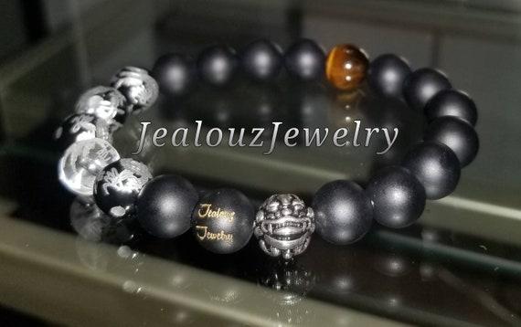 Protection Against  Negative Energy WealthSterling Silver Lucky Dragon Matte Black Onyx Gemstone Mens Stretch Yoga Bracelet
