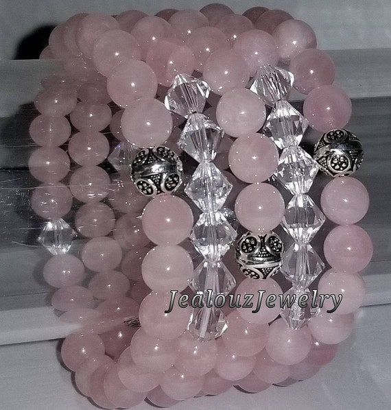 "925 Thai Sterling Silver Grade AAA Rose Quartz 8mm Gemstone 7"" Stretch 5pc Stack Bracelet Arm Candy Set Made With Swarovski Crystal"