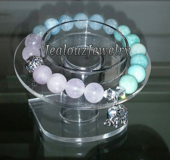 Sterling Silver 925 Lucky Elephant Infinity Knott Amethyst Aquamarine Amazonite Gemstone Beaded Stretch Bracelet