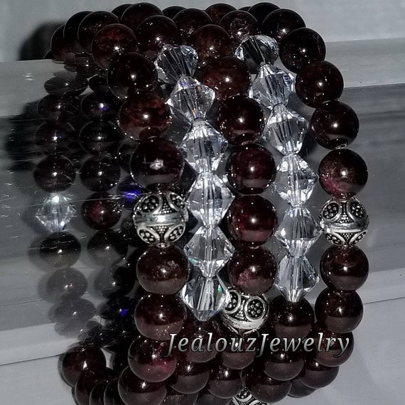 "925 Thai Sterling Silver Grade A Garnet Red 8mm Gemstone 7"" Stretch 5pc Stack Bracelet Arm Candy Set Made With Swarovski Crystal"