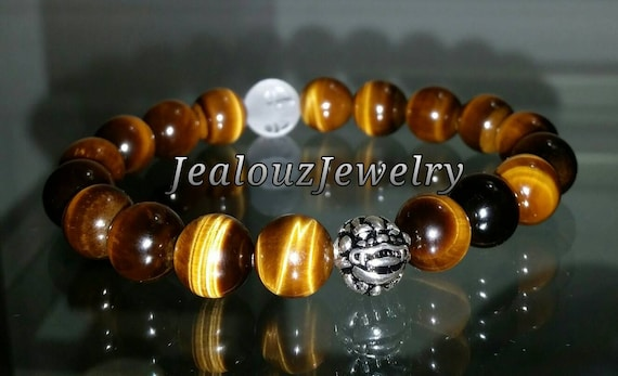 "Grade AAA Tiger Eye Navel Chakra (Power) Gemstone 7"" Stretch Meditation Yoga Bracelet 925 Sterling Silver Lucky Dragon Mens"