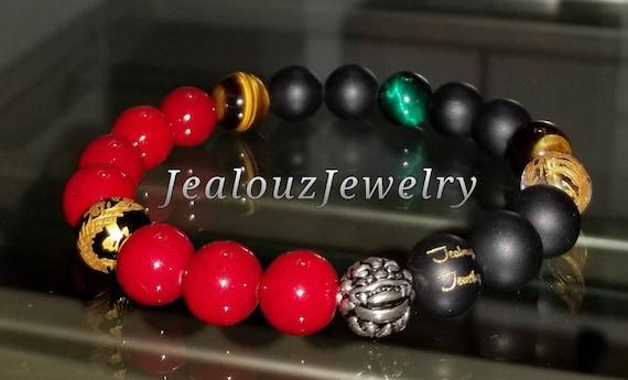 "Positive Energy Wealth Sterling Silver Lucky Dragon Matte Black Red Emerald Tiger Eye Gemstone Hip Hop Mens 7"" Beaded Stretch Yoga Bracelet"