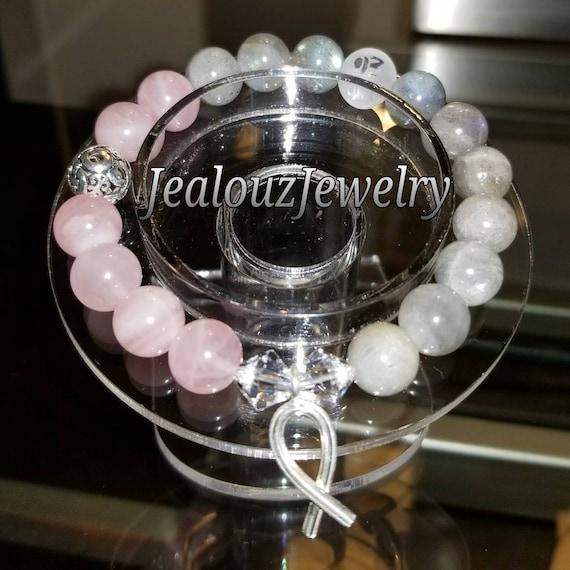Sterling Silver 925 Endless Knott Breast Cancer Awareness Ribbon Rose Quartz Grey Labradorite Healing Gemstone Beaded Stretch Bracelet