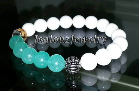 "Aquamarine Quartz White Jade Gemstone 7"" Stretch Yoga Bracelet 925 Sterling Silver Lucky Dragon Quartz"